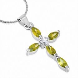 Alliage de mode cristal pendentif croix avec chaîne de fleurs avec Clear & Jonquil CZ
