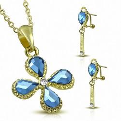 Pendentif avec pendentif en forme de fleur en alliage doré à la mode et alliage doré avec saphir clair et foncé CZ (SET)