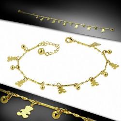 Bracelet à breloques en forme de tulle de javelot en cuivre doré à la mode avec chaîne d'extension
