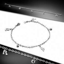 Acier inoxydable Lobster Claw Clasp Fermeture Double Bar Notes de musique Ball Charm Link Chaîne Bracelet / Bracelet