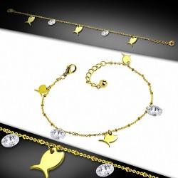 Bracelet à breloques / bracelet de poisson en acier inoxydable doré avec chaîne d'extension & CZ transparent
