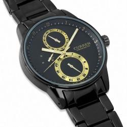 Montre homme |Montre de direction étanche en alliage Fashion avec chronographe fixe 2 tons à cadran noir et cadran noir
