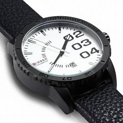Montre homme |Montre de direction à bracelet en cuir noir alliage fashion avec cadran blanc et date - cadran blanc