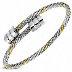 Bracelet manchette en acier inoxydable avec câble torsadé