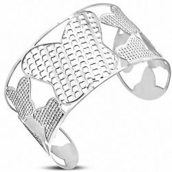 Bracelet manchette large en forme de fleur de papillon en acier inoxydable