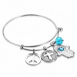 Bracelet en acier inoxydable bicolore Signe de la Paix Croix Cercle Mauvais Oeil Main de Fatima / Charm Hamsa