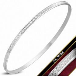 DIA-70mm x 3mm |Jonc plat maigre avec grille gravée en acier inoxydable