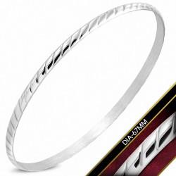 DIA-67mm x 3.5mm  Bracelet rond maigre tordu en acier inoxydable