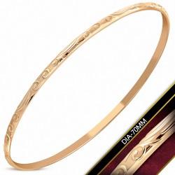DIA-70mm x 3mm |Bracelet rond maigre en forme de vigne spirale gravée en acier inoxydable plaqué de couleur d'or rose / rose