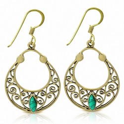 Boucles d'oreilles avec crochet en forme de sac à main en spirale en filigrane bronze à la mode avec turquoise (paire)