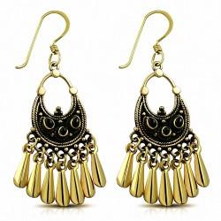 Boucles d'oreilles crochet bronze à la mode avec onyx noir (paire)