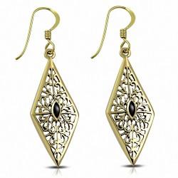 Boucles d'oreilles crochet en forme de diamant en filigrane à la mode bronze avec onyx noir (paire)