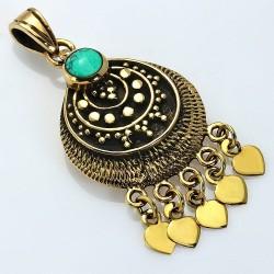Pendentif Bohème Fashion Bronze avec Turquoise