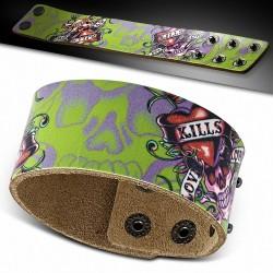 Bracelet en cuir de mode Snap Biker  Skull Kills Love lentement conception de peinture de coeur - BHY102