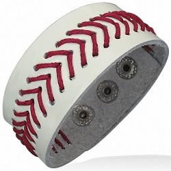 Bracelet en cuir véritable en cuir blanc avec boutons-pression et armure en corde rouge