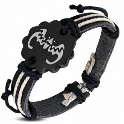 Bracelet style montre en cuir noir et chauve-souris avec corde