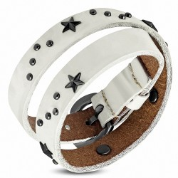 Bracelet en cuir véritable double tour avec boucle de ceinture en étoile blanche