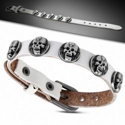Bracelet motard en cuir blanc véritable avec boucle de ceinture à clous