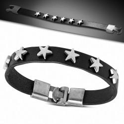 Bracelet à bascule en cuir noir avec étoile