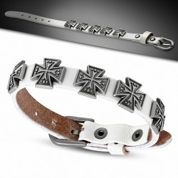 Bracelet à boucle en cuir véritable double pattee croix en cuir blanc