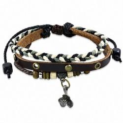 Bracelet en cuir marron ajustable avec bretelles fantaisie tressé en forme de corde triple multi avec ganse