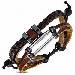 Bracelet en cuir marron réglable avec triple anneau torsadé à la mode - Tube tressé