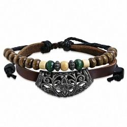 Bracelet réglable en cuir à double rangée de perles de vigne en bois à la mode en Bali