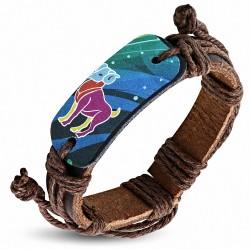 Bracelet en cuir marron réglable de signe de zodiaque de signe coloré de Bélier de mode