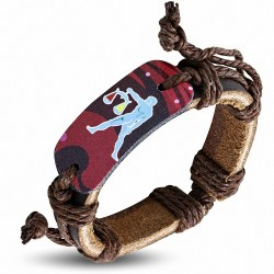 Bracelet en cuir marron réglable de style zodiacal Balance Balance colorée mode Balance
