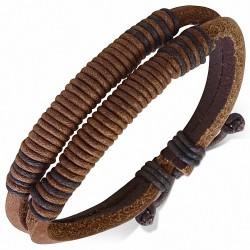 Bracelet en cuir marron ajustable multi-cordes à la mode - FBK818