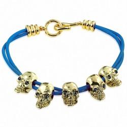 Bracelet à bascule en cuir bleu avec crâne en alliage doré à la mode en alliage doré - Noir CZ