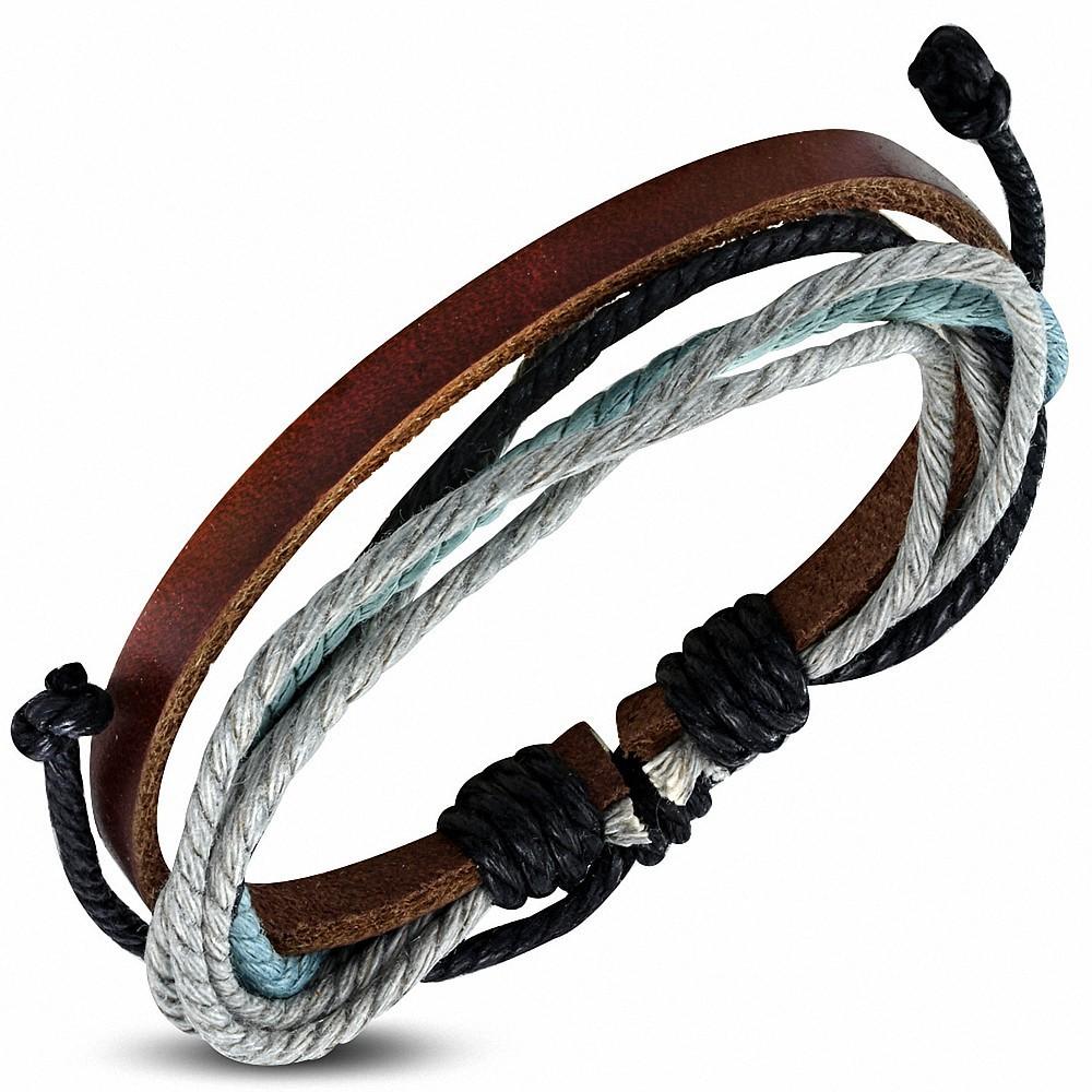 Bracelet ajustable en cuir marron avec cordon de serrage à la mode - FWB022