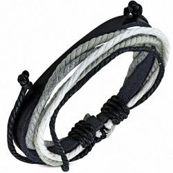 Bracelet ajustable en cuir noir avec cordelette fantaisie à la mode - FWB050