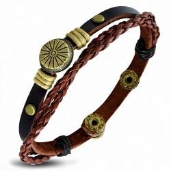 Bracelet à boutons pression en cuir marron à la mode avec ganse de fleurs et cordon