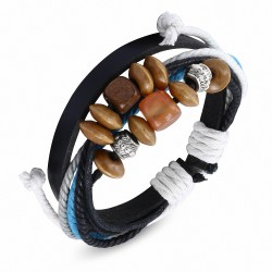 Bracelet ajustable en cuir noir avec cordes multicolores à la mode Karma perles