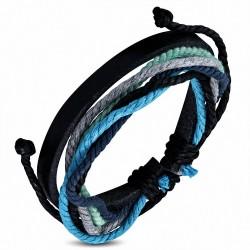 Bracelet ajustable en cuir noir avec corde multicolore à la mode - FWB140