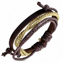 Bracelet ajustable en cuir marron avec cordon multicolore à la mode - FWB147