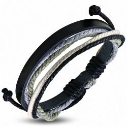 Bracelet ajustable en cuir noir avec cordon multicolore à la mode - FWB223