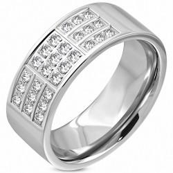 8mm |Bague en bande de mariage en acier inoxydable PaveSet Comfort Fit, coupe confortable, avec zircon clair