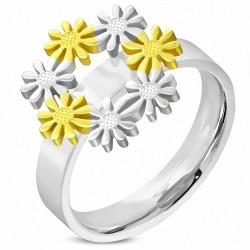 Bague fantaisie Lien de fleur en flocon de neige en acier inoxydable avec lien de confort