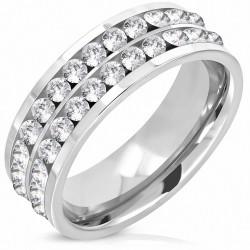 7mm |Bague de mariage plate en acier inoxydable avec demi-alliance Eternity Comfort Fit w / Clear CZ