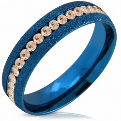 6mm |Bague en acier inoxydable avec sablage ChannelSet Eternity Comfort Fit en acier inoxydable anodisé bleu avec topaze CZ