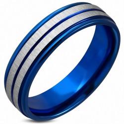 6mm |Bague en bande plate à ajustement confortable 2 tons StepEdge en acier inoxydable anodisé bleu