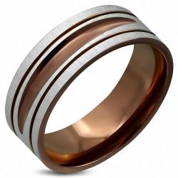 8mm |Bague en bande plate à coupe ajustée DiamondCut 2 tons en acier inoxydable plaqué de couleur brune