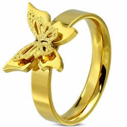 Bague fantaisie ajustée confort papillon sablé en acier inoxydable plaqué or