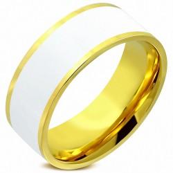 8mm |Bague plat à ajustement confortable en émail blanc à deux tons en acier inoxydable plaqué de couleur d'or