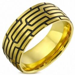 10mm |Bague demi-ronde ajustée confort géométrique en acier inoxydable plaqué or à 2 tons