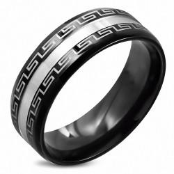 8mm |Bague demi-ronde ronde en acier inoxydable noir à rayures ton sur ton avec clé grecque noire