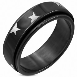 8mm |Bague à plat en acier inoxydable noir avec deux étoiles