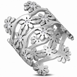 Alliance en acier inoxydable avec lien de fleurs avec cz transparent